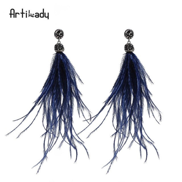 Artilady bohemian dangle earrings indian jewelry genuine ostrich feather tassel drop earring for women Christmas new year's gift