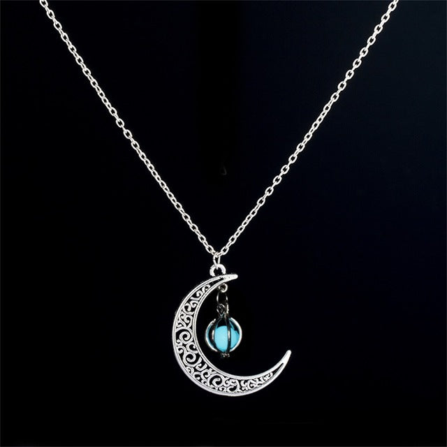 IPARAM moon glowing necklace, green stone charm jewelry, silver plated