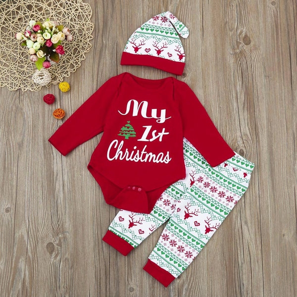 3Pcs Infant Baby Boy Girl Romper Christmas Outfits