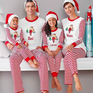 Cartoon Baby Print Kids Adult Family Matching Christmas Pajamas Striped Family Clothing Sets