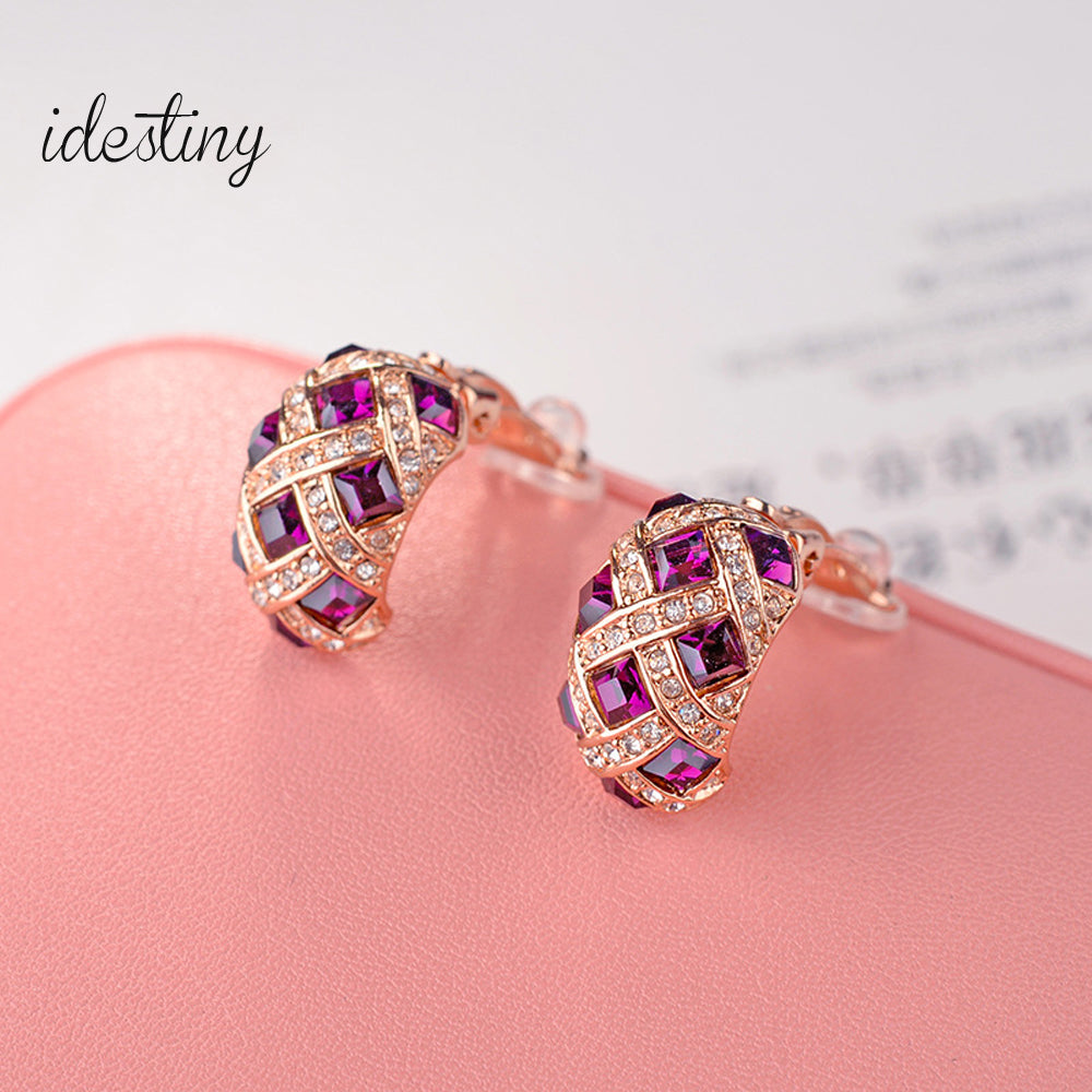 women clip earings no pierced made with Austria crystal luxurious C shaped design jewelry gift for Mother's Day