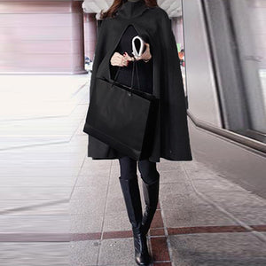 Fashion Hooded Cloak Split Hem Shawl Female Winter Casual Leisure Woolen Blend Long Hoodies