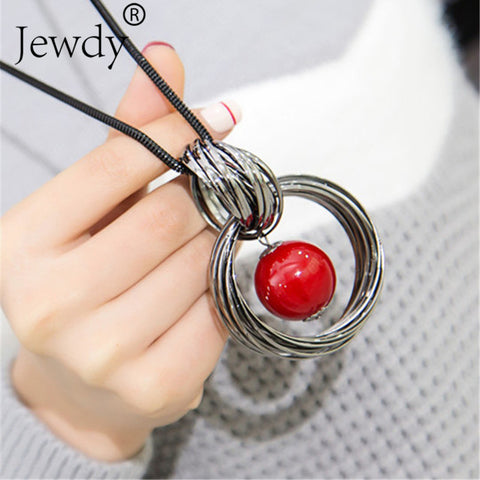 Red White Pearl Ball Pendant Long Necklaces New Circles Simulated Women Black Chain Maxi Necklace