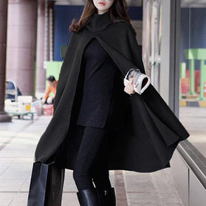 Black Woolen Blend Hooded Split Shawl Cloak Pullover Poncho Turtleneck Solid Long Coat