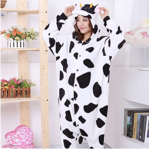 Flannel Cute Cartoon Cow Pajamas Adult Winter Hoodie Animal Warm Women White Pajamas