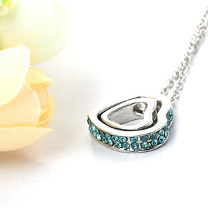1PC Fashion Double Heart Crystal Rhinestone Eternal Love Silver Necklace