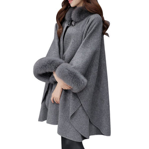 Women Jacket Casual Wool Outwear Fur Collar Parka Cardigan Cloak Coat