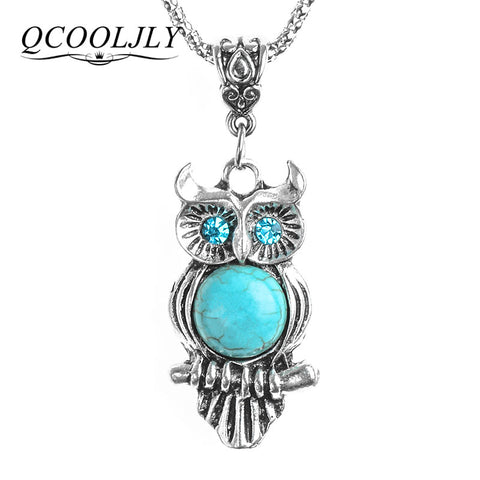 Owl Pendant & Necklace Chain Vintage Jewelry for Women Pendant Long Chain Necklace