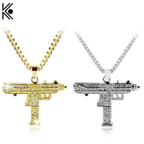 Gold Necklace Uzi Gun Pendant Necklace Men Alloy Full Crystal Bling Submachine Chain