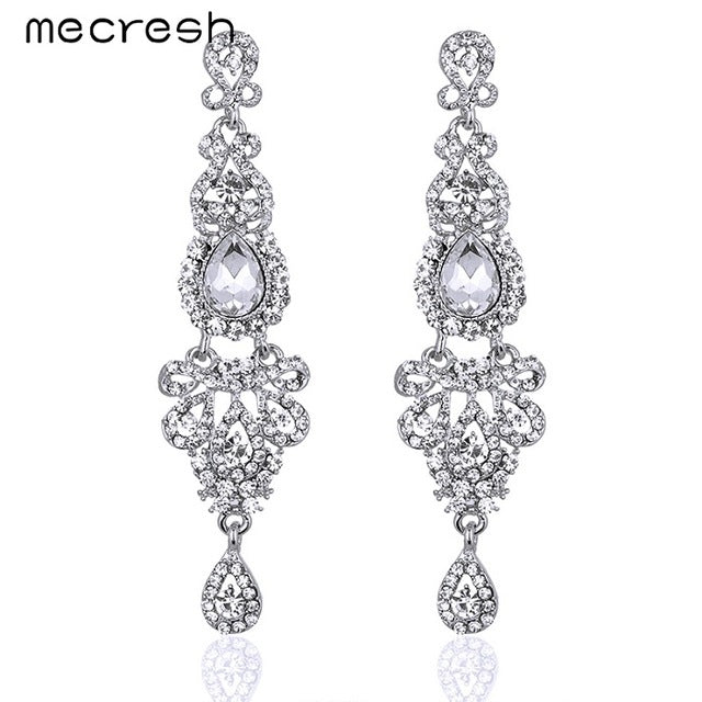 Mecresh Crystal Long Earrings for Women Silver/Black/Gold Color Chandelier Bridal Dorp Earrings Wedding Engagement Jewelry EH162