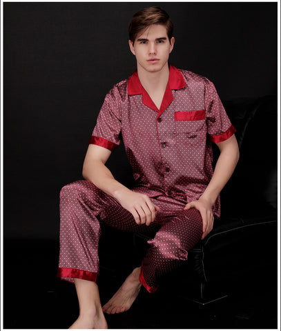 Men Satin Silk Pajamas Sets of Sleepshirt & Trousers Adult short sleeves Nightwear