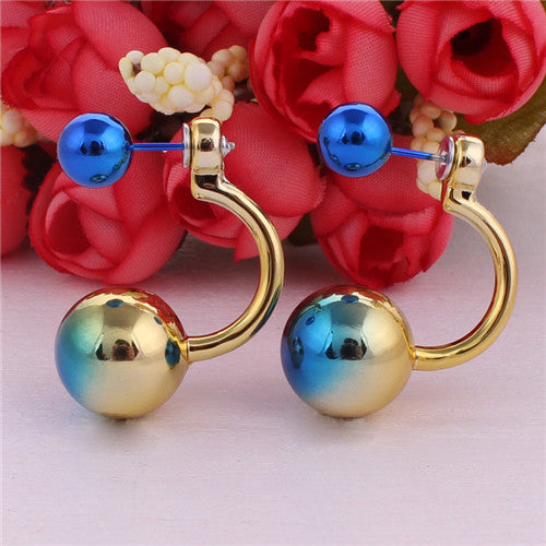 Double Sides Big Ball Stud Earrings Pearl Earrings For Women