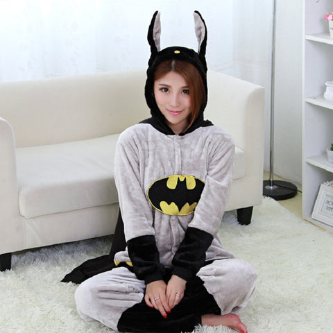 Halloween One Piece Cartoon Batman Pajamas For Unisex Adult Winter