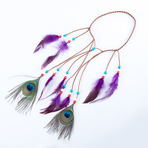 AdjustableBohemian Headdress Peacock Feather Headbands