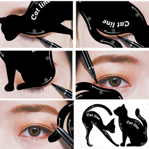 2Pcs Women Cat Line Pro Eye Makeup Tool Eyeliner Stencils Template