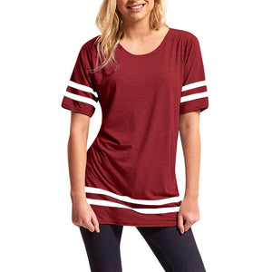 Womens Ladies Stripe Baggy Top Short Sleeve Sport Pullover T Shirts Blouse