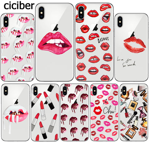 Kylie Jenner Lips Lipstick Make Up Sexy Phone Case for iphone 8 7 PLUS X 10 7PLUS 8PLUS