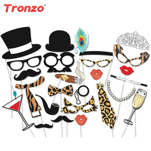 25Pcs Sexy Leopard Funny Beard Glasses Photo Booth Prop