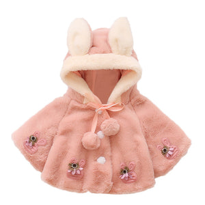 Girls Baby Children Clothes Coats Infant Cute Rabbit Ears 4/5 Sleeve Warm Hooded Cloak