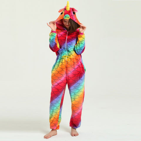 Cute Hooded Kigurumi Adult Sleepwear For Women Unicorn