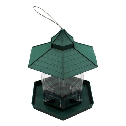 Practical Plastic Hexagonal-shape Bird Feeder Transparent Window Viewing Hanging Bird Feeder Table Seed Peanut Hanging Gazebo