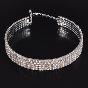 5 Rows Rhinestone Choker Necklace For Women female wedding jewelry bridesmaid chocker
