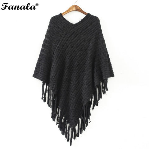 Women Oblique Stripe Tassel Wraps Cape Sweater Knitwear Stripe Tassel Wraps Cape