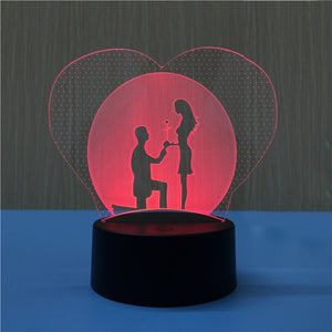 3D Heart Shapes Lamp Multicolor LED Lights Touch USB Remote Control Night Light Table Lamp