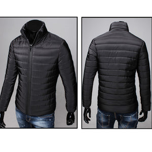 Men Cotton Stand Zipper Warm Winter Thick Coat Jacket