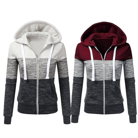 Women Autumn Casual Long Sleeve Thin Zip Contrast Hood Hoodies Jacket