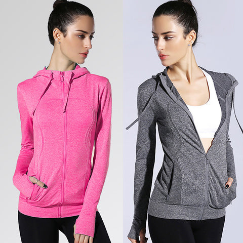 Women Yoga Sport Pocket Stretchy Workout Dri-Fit Hooded Outdoor Jacket