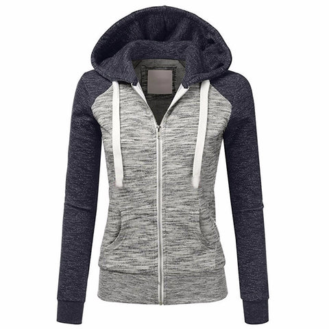 Women Autumn Casual Long Sleeve Thin Zip Contrast Hoodies Jacket