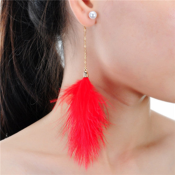 10 Color Earrings With Feather Shape Round Drop