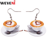 WEVENI Lightweight Flat Drop Dangle Big Heart In Coffee Cup Food Earrings For Women Fashion Accessories Acrylic Printing Jewelry