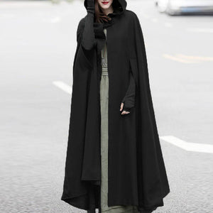 Women Winter Hooded Open Front Cloak Loose Solid Long Coat Hoodies