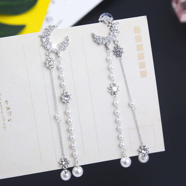 Bling Luxury Crystal Star Moon Earrings for Women Girls Long Pearl Pendant Drop Dangle Earring Wedding Party Jewelry 5C3011