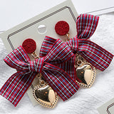 2017 Korean Sweety Colourful Lattice Bowknot Earrings For Women Vintage Jewelry Metal Peach Heart Pendientes Brincos