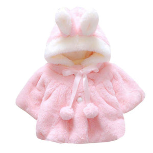 3 Colors Winter Coat for Baby Girls Rabbit Soft Fleece Cloak Hooded
