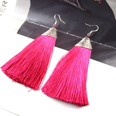 2018 Colorful Drop Tassel Earrings Green Indian Ethnic Danging Earrings For Women Wedding Long Hanging Statement Earing