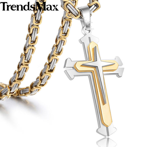 Trendsmax Cross Pendant Men's Necklace Stainless Steel Byzantine Chain Gold Silver