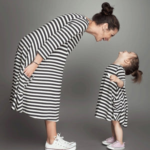 Baby Girl Dresses Clothes Long Sleeve Striped Family Matching Outfits Cotton Mother Daughter Dresses Family Christmas Pajamas