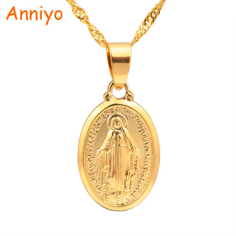 Anniyo Virgin Mary Pendant Necklace for Women/Girls,Gold Color Our Lady