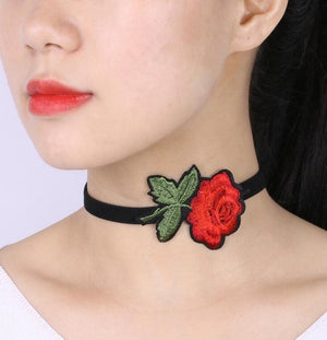 Black Chokers Red Flower Necklaces Embroidery Rose Velvet Choker Necklace