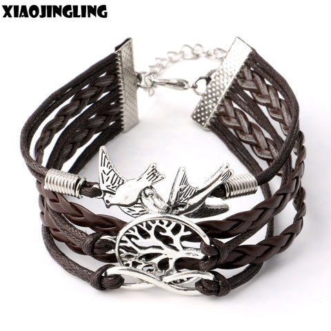 Handmade Rope Chain Bracelet Cute Peace Tree & Birdie  Black Leather Bracelets