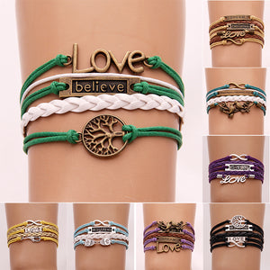 (10Pcs/Lot)  Infinity Love Leather Bracelet & Bangles Handmade