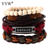 1Set 4PCs Men's woven  Bracelets Wrap Leather Bracelet for Women Punk Multilayer Zinc Alloy word believe Bracelets