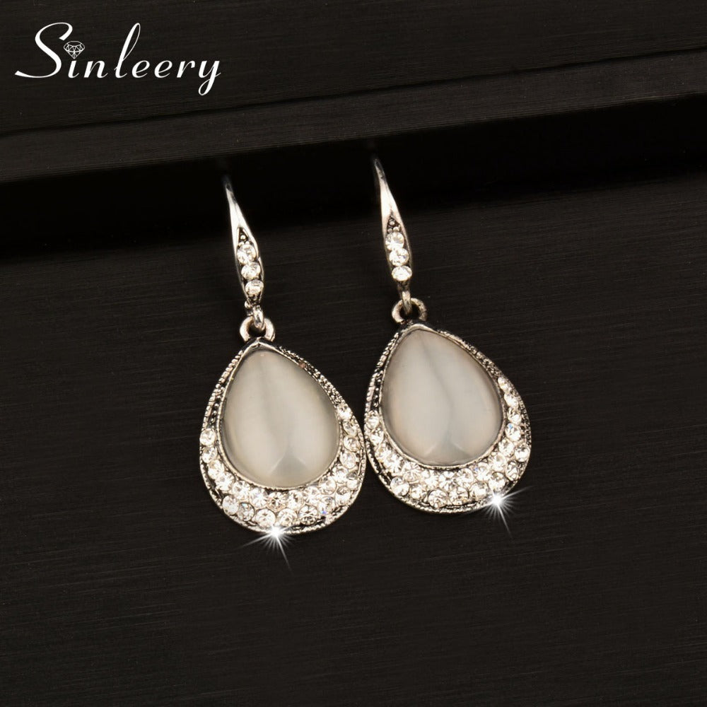 SINLEERY Vintage Water Drop Opal Stone Dangle Drop Earrings for Women Antique Silver Color Jewelry Accessories  ES527