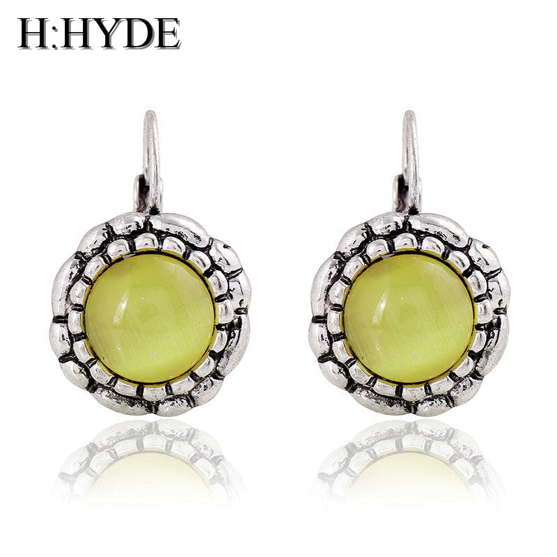 H:HYDE Bohemian Yellow Opal Flower dangl Earrings for Women Vintage Silver Color Statement Earings Fashion Jewelry Gifts Brincos