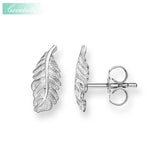 Stud Earrings Feather Trendy Gift For Women Ts High Quality Earring Thomas Style 925 Sterling Silver Zirconia Fashion Jewelry