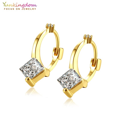 Yunkingdom Wholesale Fashion Hoop Earrings for Women Square Crystal Zirconia Earring 2017 New